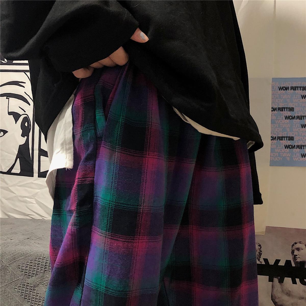 Houzhou Harajuku Plaid Broek Voor Vrouwen Japanse Streetwear Koreaanse Stijl Geruite Broek Vrouwen Esthetische Gecontroleerd Broek Vrouwen