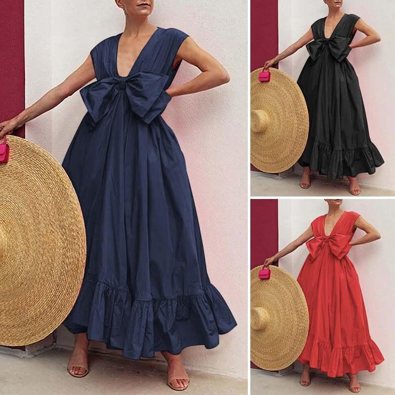 Vonda Vrouwen Lange Jurk Vintage Solid Verstoorde Tank Jurken Sexy Party Zomer Geplooide Bohemian Vestidos Elegant Robe 5XL Jurken