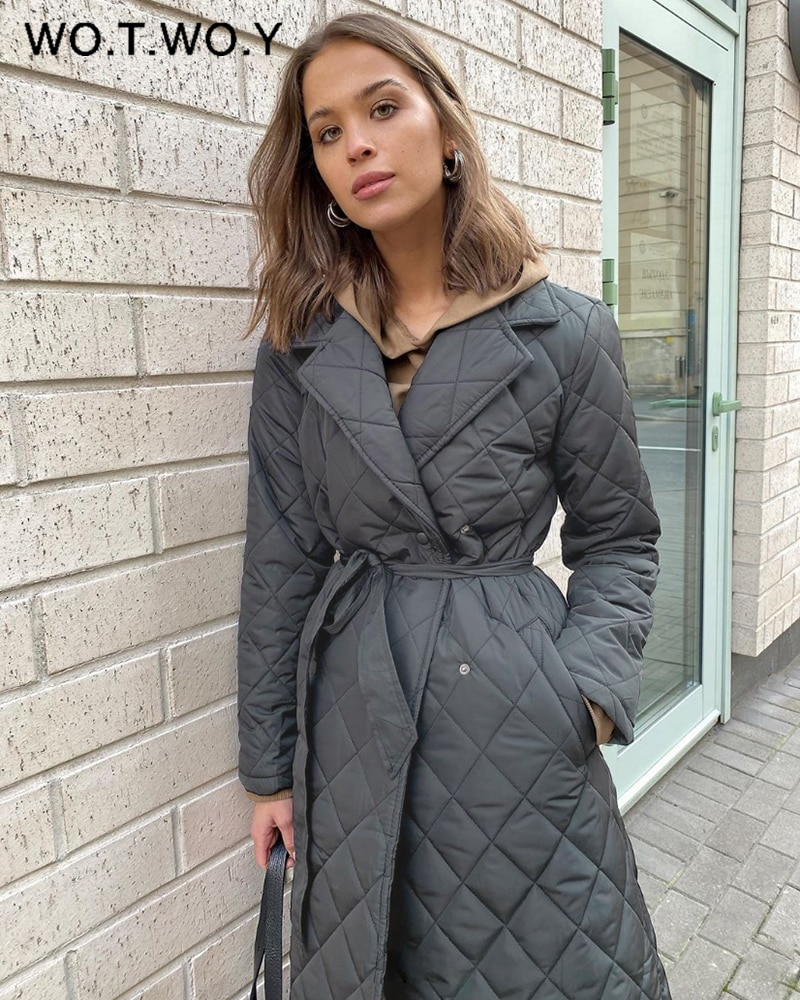 Wotwoy Argyle Belted Lange Parka Vrouwen Katoen Gevoerde Dikke Winter Jas Vrouwelijke Effen Casual Oversized Warme Overjas Met Pocket