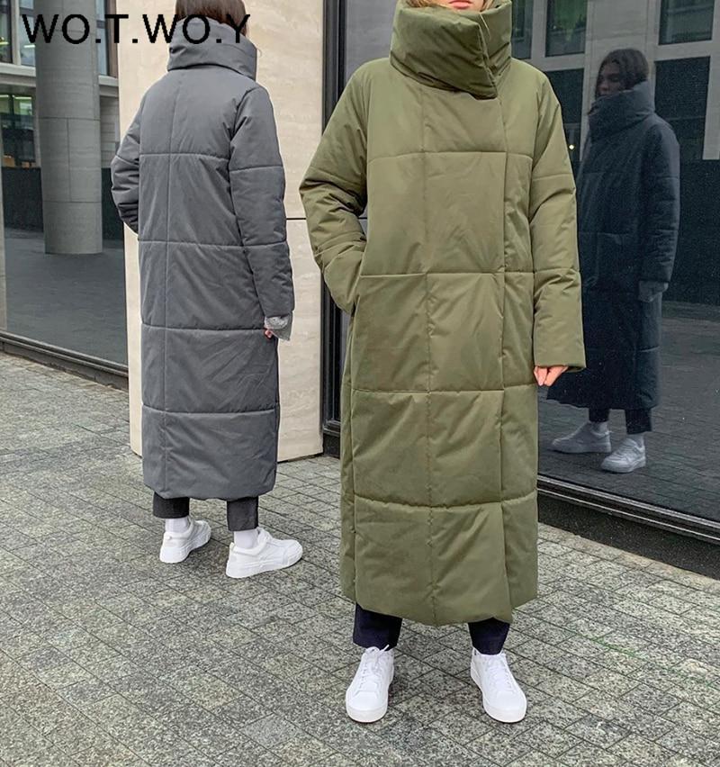 Wotwoy Winter Verdikking X-Lange Parka Vrouwen Brede Taille Losse Katoenen Gewatteerde Jassen Vrouwelijke Groene Grey Sjerpen Warm windjack