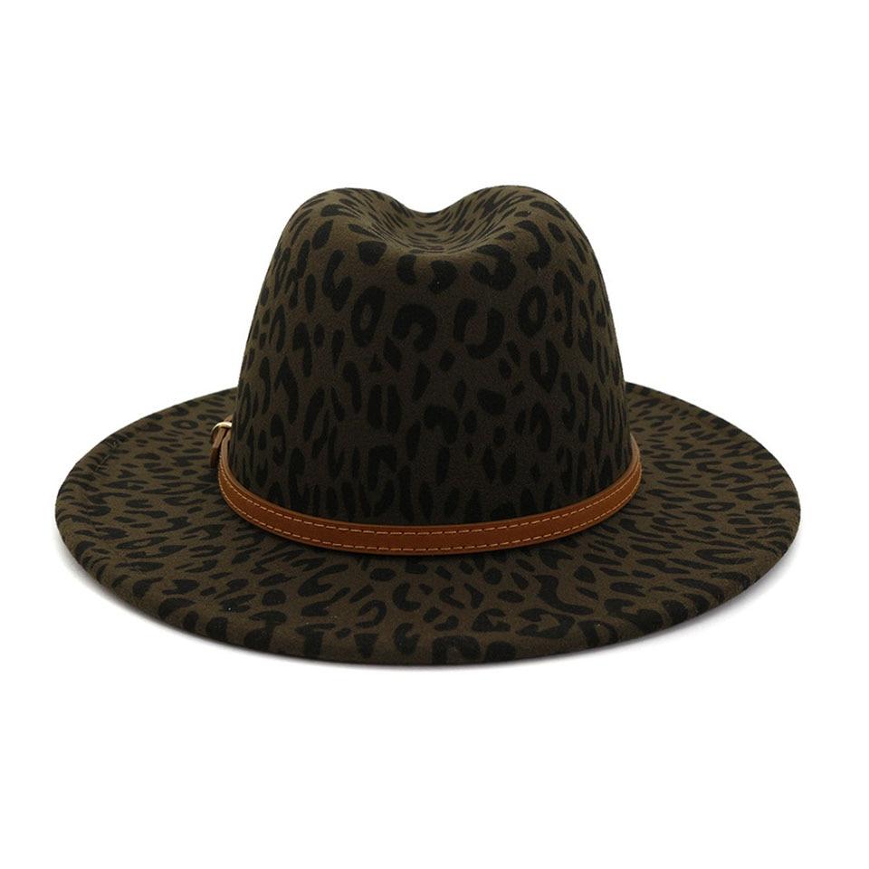 2020 Mode Winter Fedora Hoeden Voor Vrouwen Platte Brede Rand Wolvilt Jazz Fedora Hoeden Voor Mannen Leopard Goth Top vintage Bruiloft Hoed