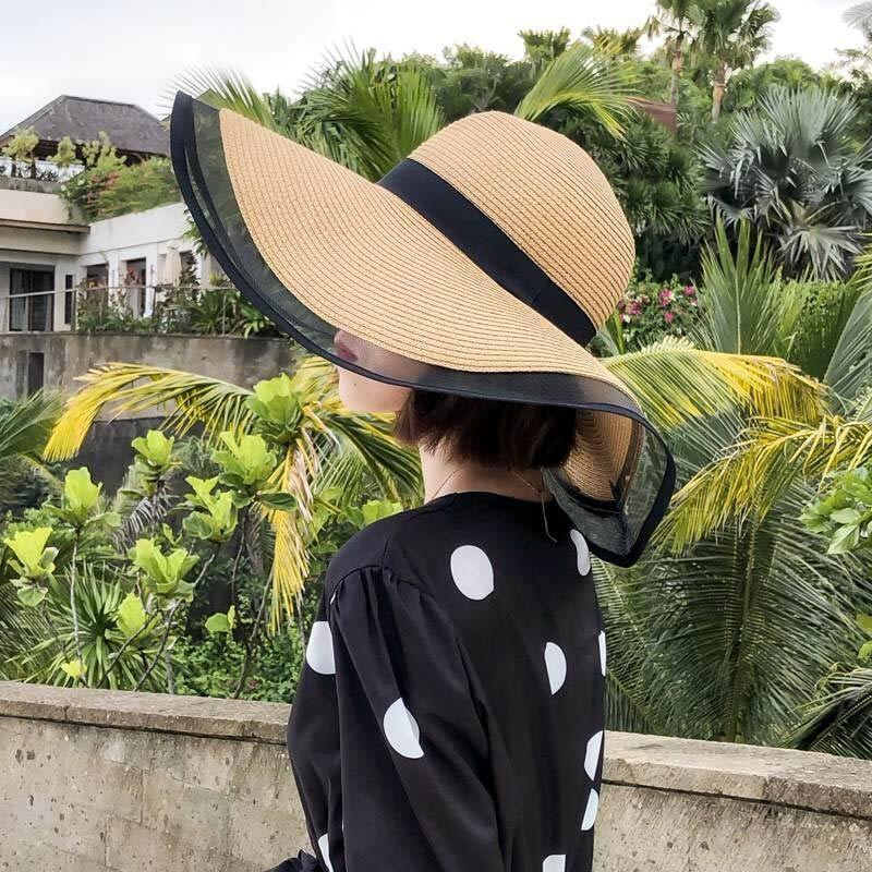 2020 Nieuwe Zon Hoeden Voor Vrouwen Meisjes Brede Rand Floppy Strooien Hoed Zomer Bohemen Strand Cap Lint Chapeau Zwart