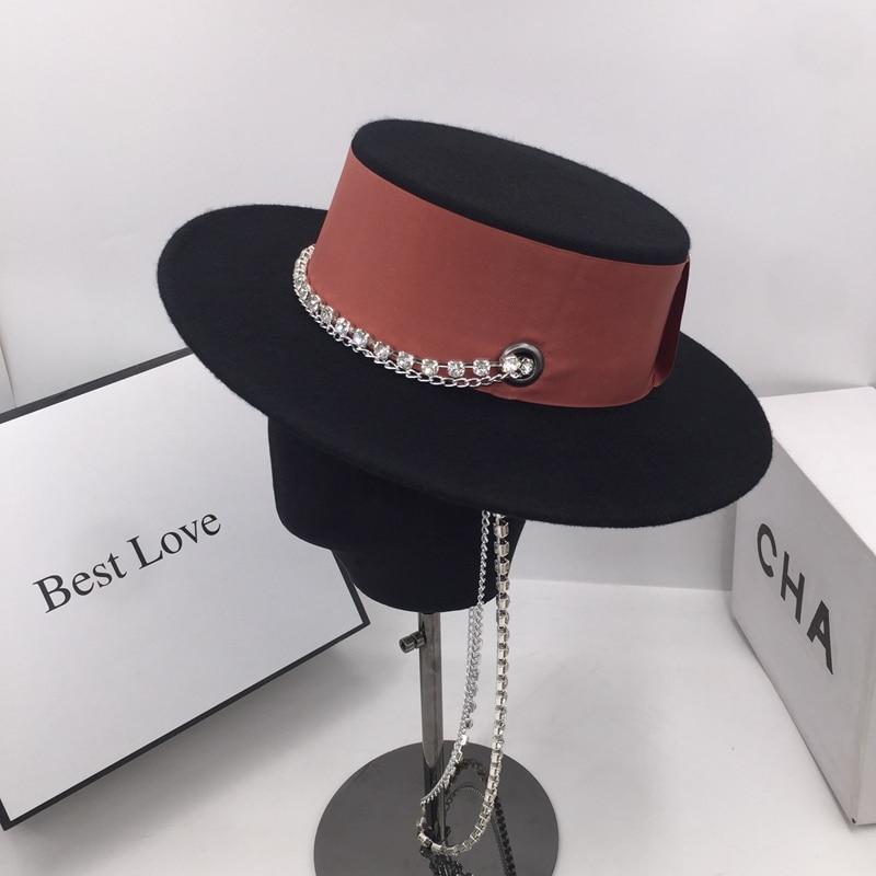 Fedora Over De Lente En Herfst Periode En De Nieuwe Wollen Muts Licht Britse Luxe Modeketen Franse Elegante Aristocratische