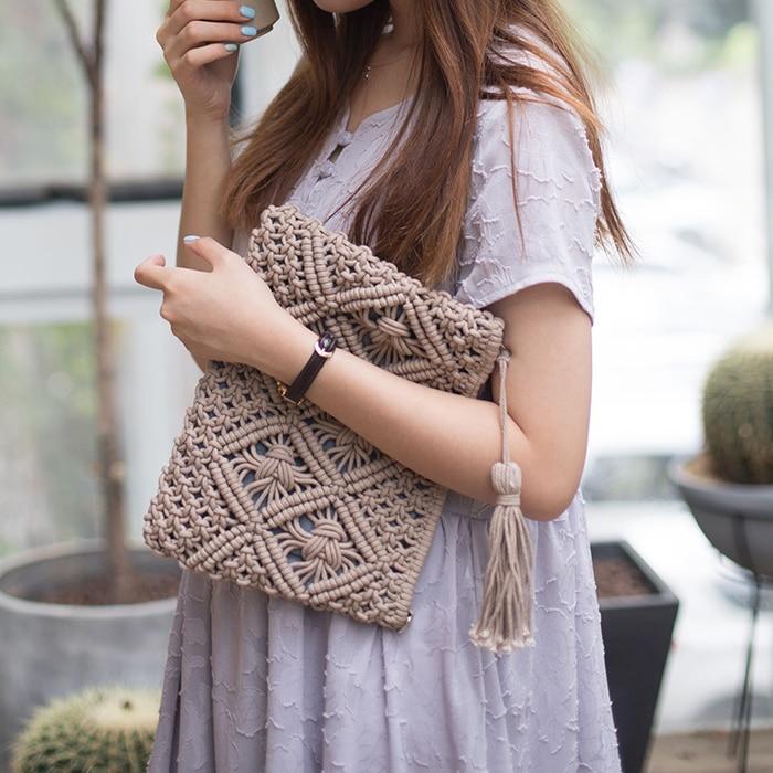 Vrouwen Bohemian Stijl Stro Geweven Dag Koppelingen Tassen Modieuze Eenvoudige Kwastje Causale Handtas Vintage Strand Tas Voor Vrouwen Meisje