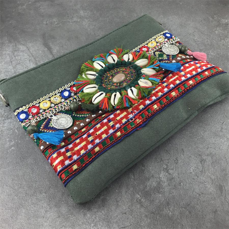 Vrouwen Handtas Bohemian Stijl Boho Metalen Beauty Lady Schoudertas Dame Vintage Etnische Borduren Hippie Keten Cross Body Bag