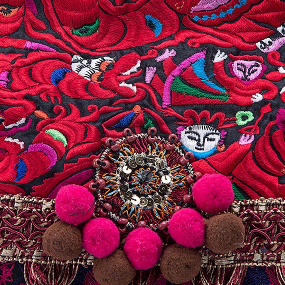 Originele Vrouwen Handtas Nationale Thai India Floral Geborduurde Boho Canvas Schouder Messenger Bags Kwastje Grote Reizen Bakken