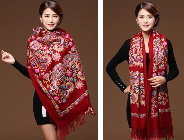 Vrouwen Zwart Borduren Bloem Pashmina Kasjmier Sjaal Winter Warme Fijne Kwasten Sjaal Oversized Sjaal Mode Sjaal Sjaals