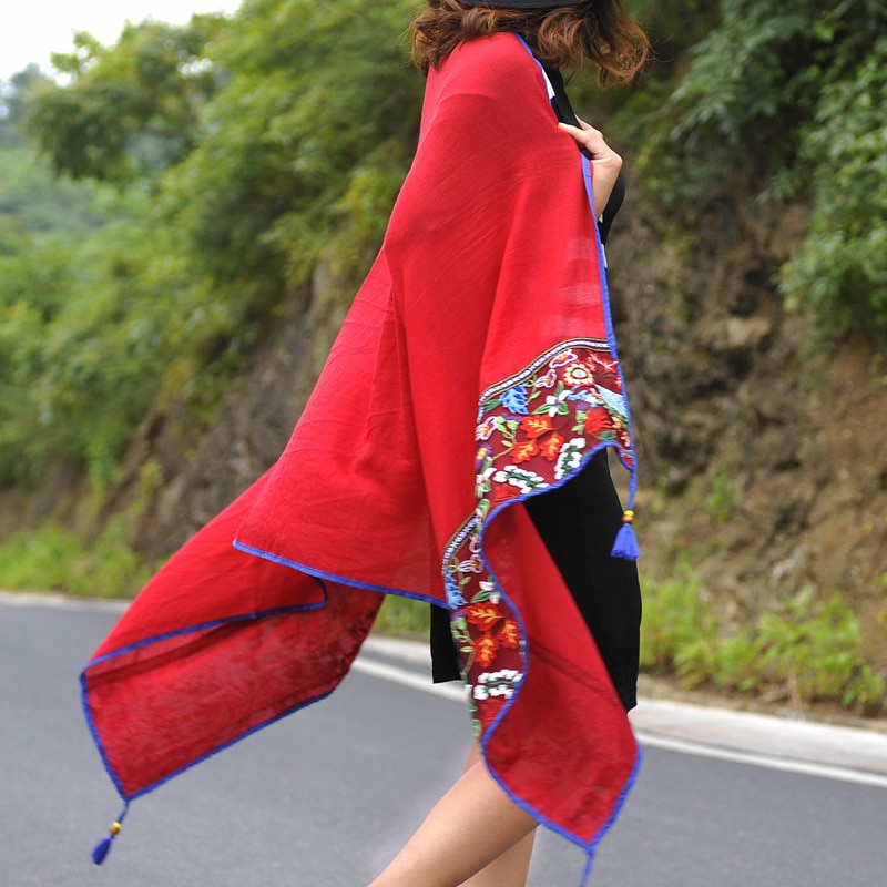 Kant Borduurwerk Katoenen Sjaal Vrouwen Vintage Bloemenprint Sjaals En Wraps Kwasten Pashmina Lady Foulard Hijab Moslim Sjaal