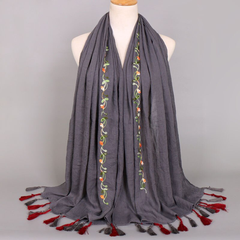 2020 Fashion Bohemian Ketting Bloemen Kwastje Viscose Shawl Sjaal Vrouwen Hoge Kwaliteit Warm Etnische Pashmina Stola Moslim Hijab Snood