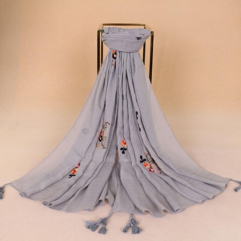 2020 Mode Geborduurde Bloemen Kwastje Viscose Sjaal Nieuwe Lente Gedrukt Lange Zachte Aztec Sjaals Wrap Pashmina Hijab Sjaal Stola