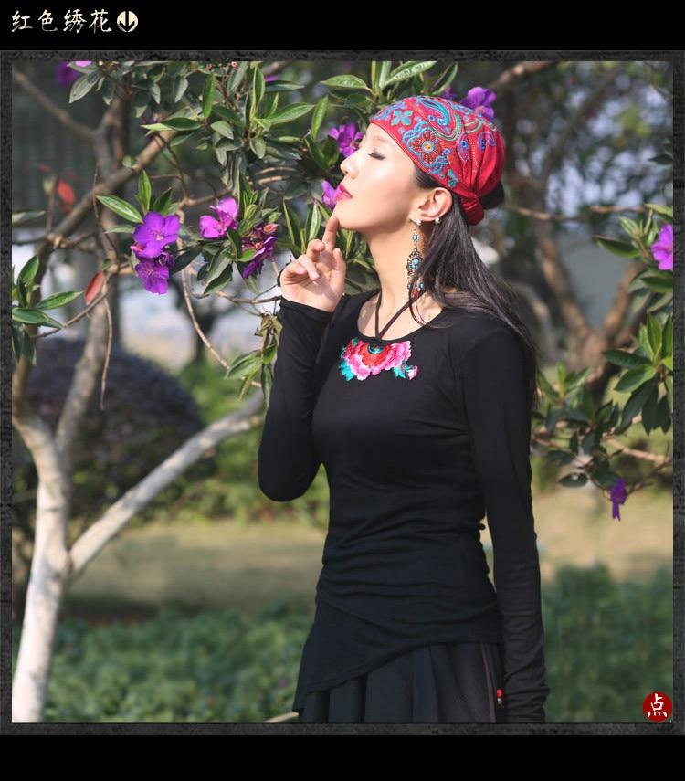 Kyqiao Mexicaanse Stijl Lente En Herfst Etnische Vintage Borduurwerk Bloemen Bandana Originele Zwart Rood Blauw Print Hoed Kat