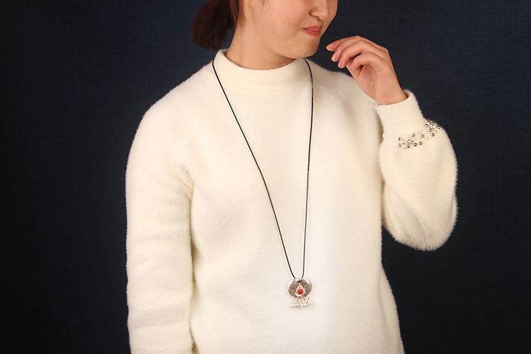 Seedpod van de lotus Dubbele Vis Etnische Sieraden nationale vintage metalen hangers, mode handgemaakte lederen touw ketting