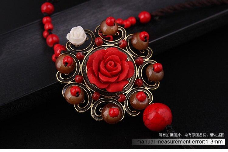 Nieuwe Mode Etnische Ketting, Lapis Rose Bloemen Hangers Ketting Vintgae Sieraden Rode Glas Stenen Trui Ketting Voor Vrouwen