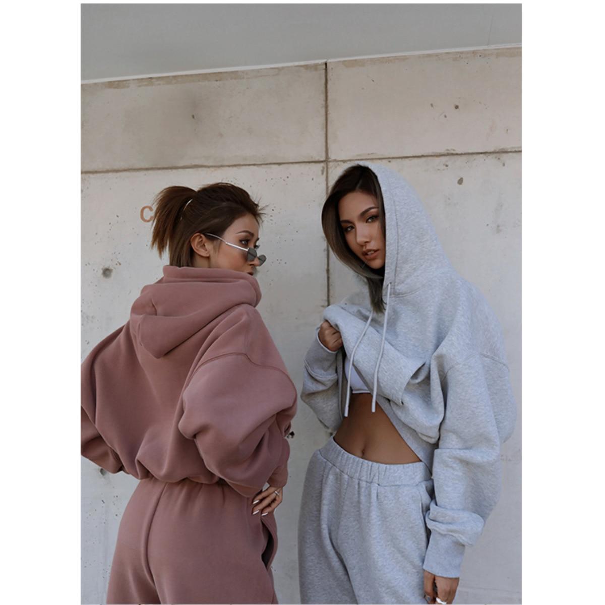 2020 Hoodies Vrouwen Tweedelige Set Effen Fleece Trekkoord Trainingspakken Winter Dikke Warm Hooded Sweatshirt Jogger Broek Pak
