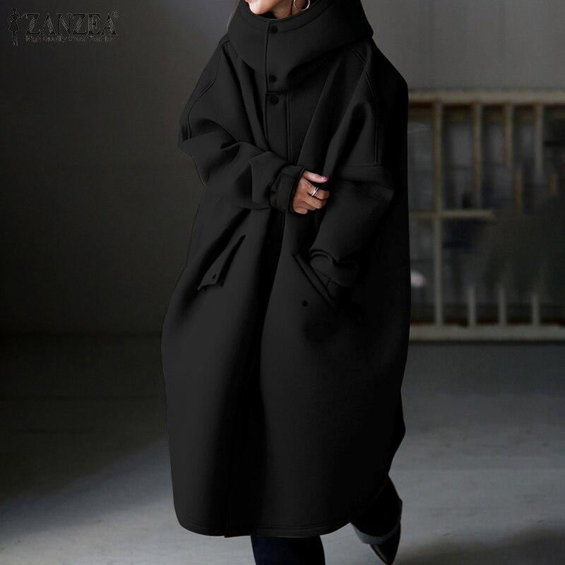 Vrouwen Solid Jassen Zanzea 2020 Elegante Coltrui Jassen Lange Mouwen Baggy Outerwears Vrouwelijke Knop Overjassen Plus Size 5XL