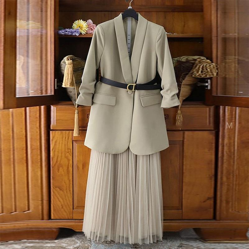 2020 Plus Size Vrouwen Pak Blazer Jurk Lange Jas Mesh Jurken Twee Delige Set Met Riem Elegante Vrouwen Winter jas Jurk Sets